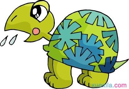 狐狸回头一看,原来是一只乌龟,头和脚都缩到龟壳里去了.