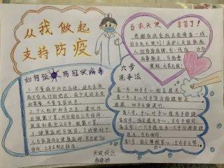 抗击肺炎疫情为武汉加油的小学生手抄报图片内容