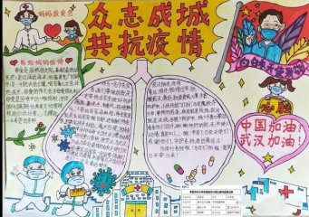 2020抗击疫情小学生手抄报图画_抗击新冠病毒防控疫情手抄报