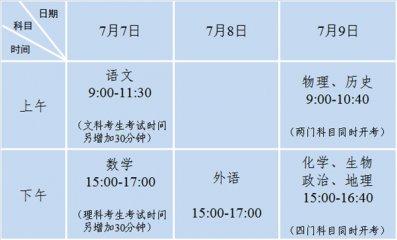 2020江苏高考时间安排表_江苏高考各科目安排时间表