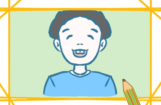快乐的男孩上色简笔画要怎么画