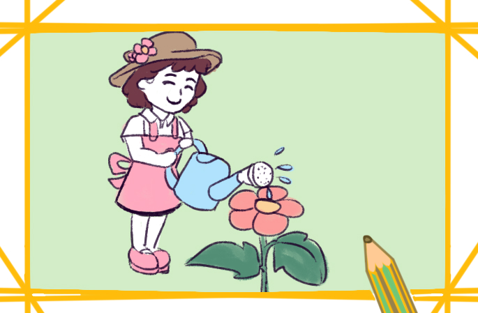 种花的女孩简笔画图片教程