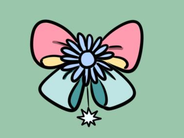 漂亮的蝴蝶结儿童简笔画要怎么画