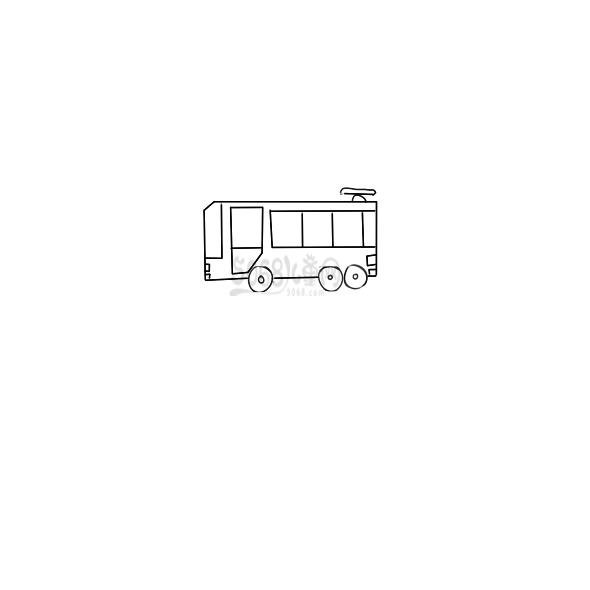 漂亮的巴士车简笔画教程步骤