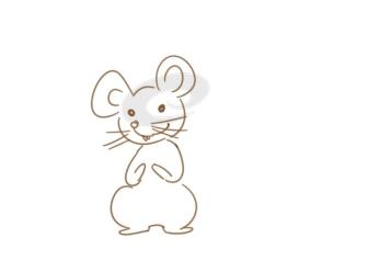 超简单的小白鼠简笔画原创教程步骤